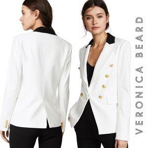 Veronica Beard Jack Riding Blazer White Black Gold-Tone Size 12
